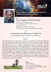 Invitation - Prof Chandra wickramasinghe
