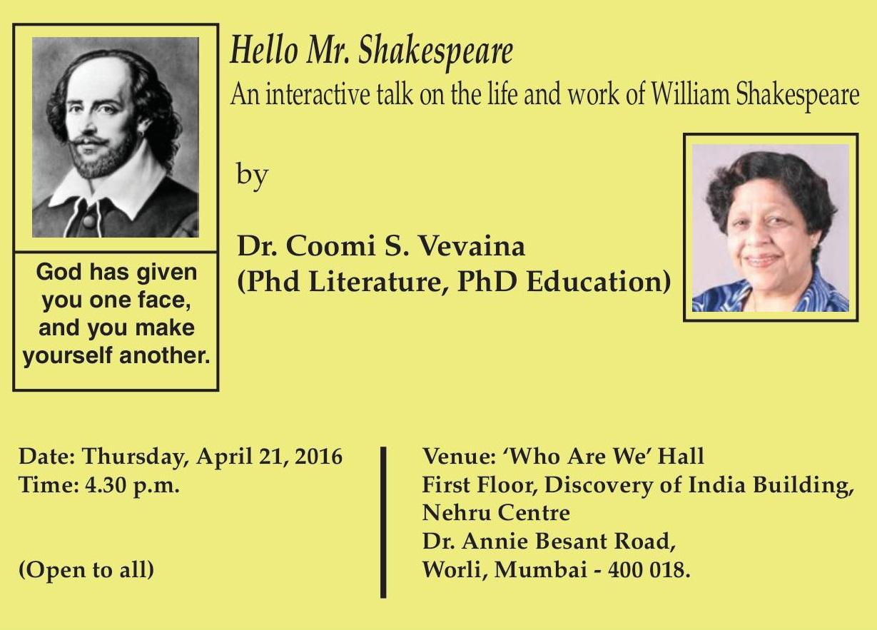 Hello Mr. Shakespeare. An interactive talk on ...